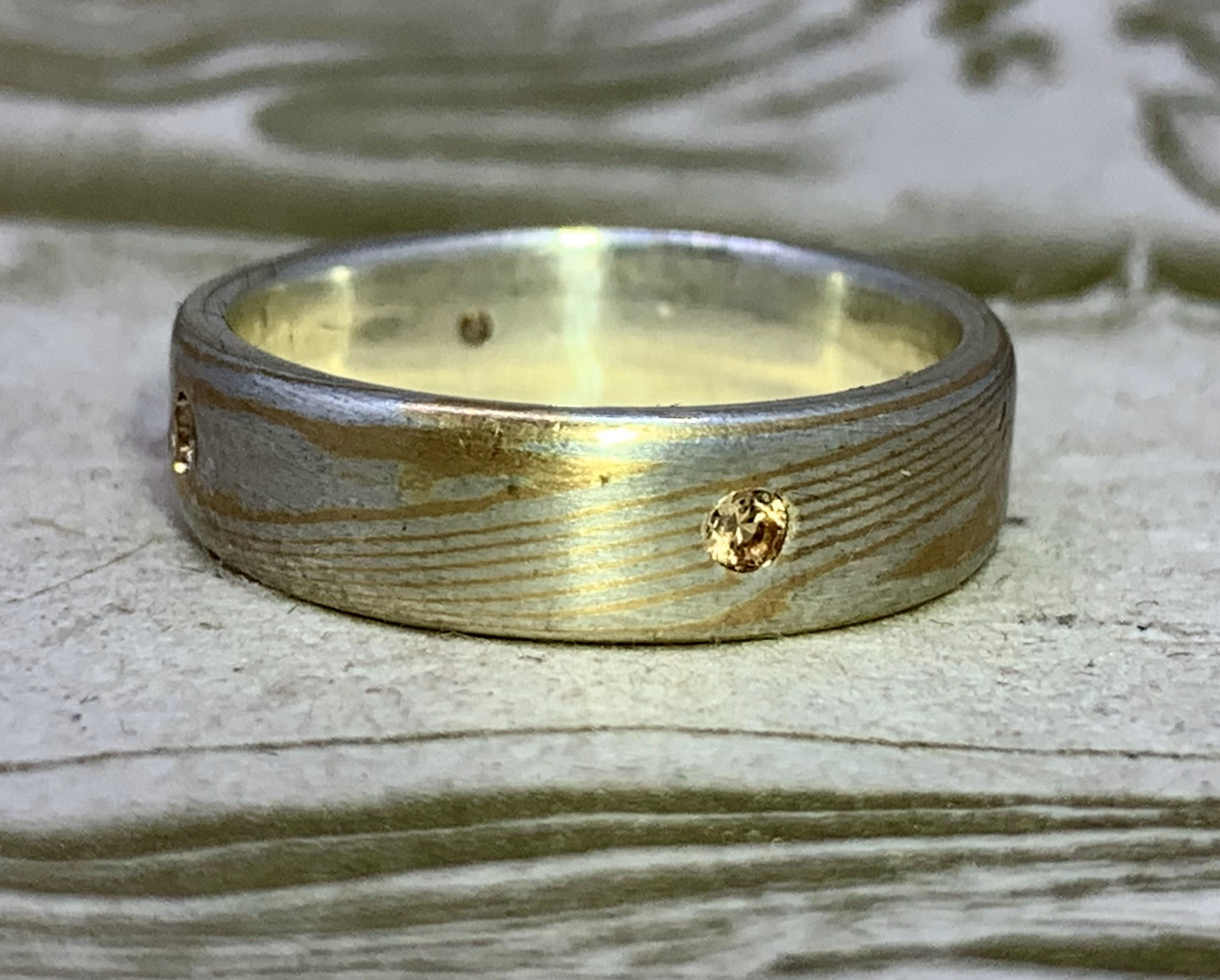 Mokume Gane Band with Yellow sapphires-22k gold and sterling
