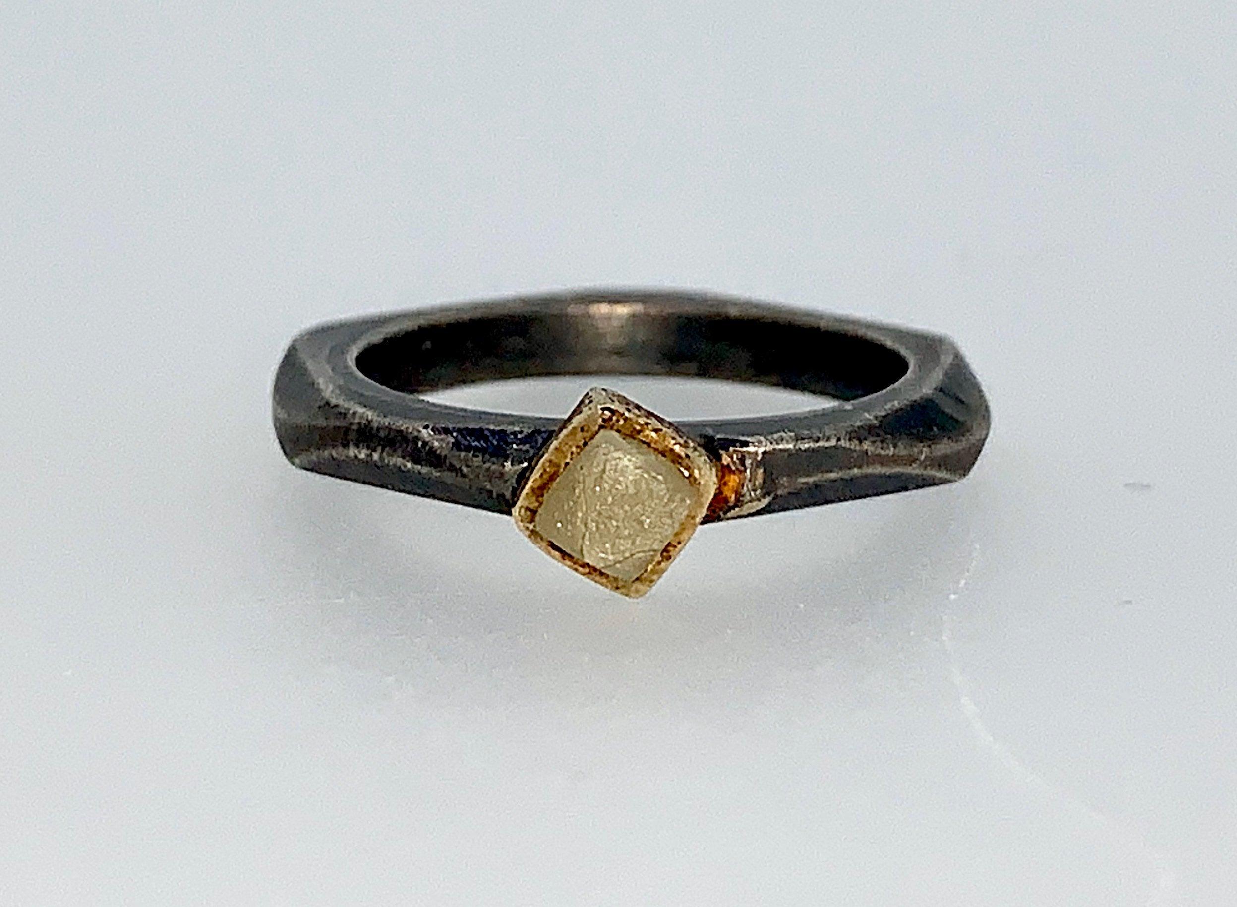 Rough Diamond Cube Stacking Ring
