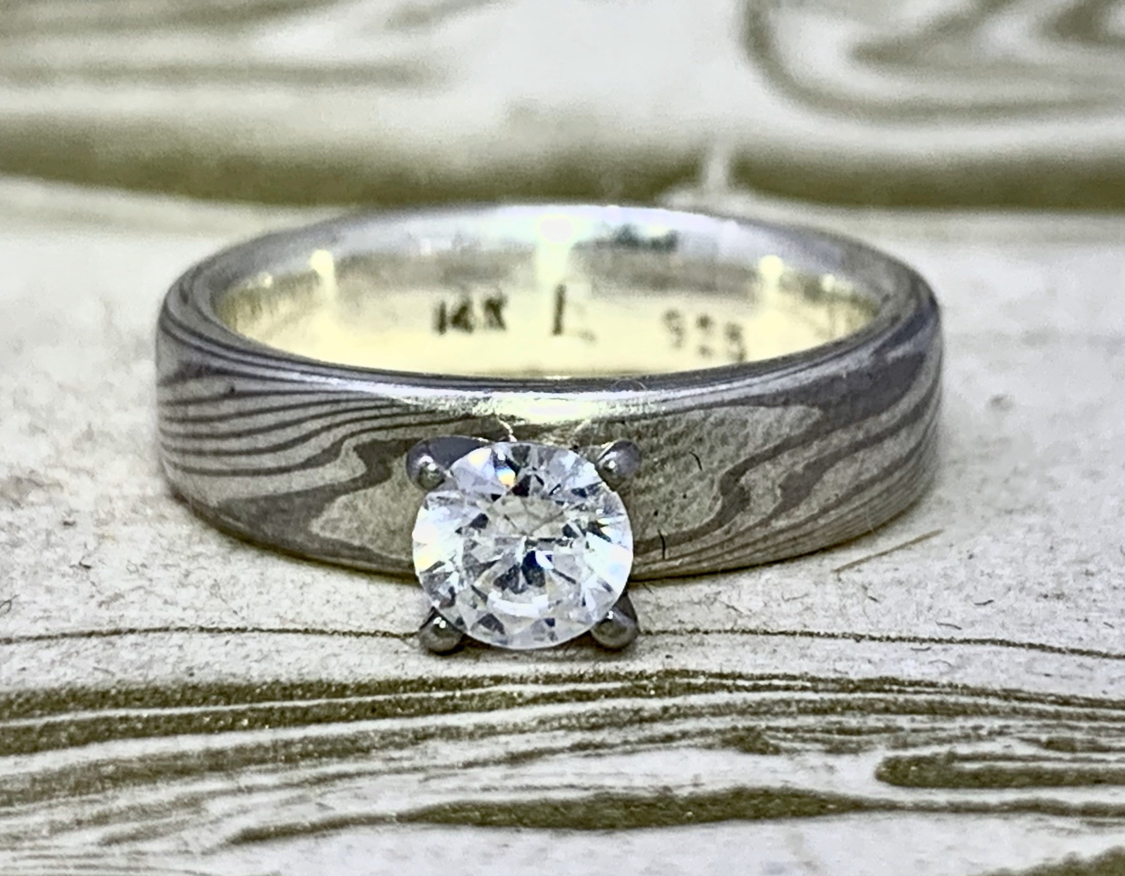 Mokume Gane Solitaire Engagement Ring (custom order only)