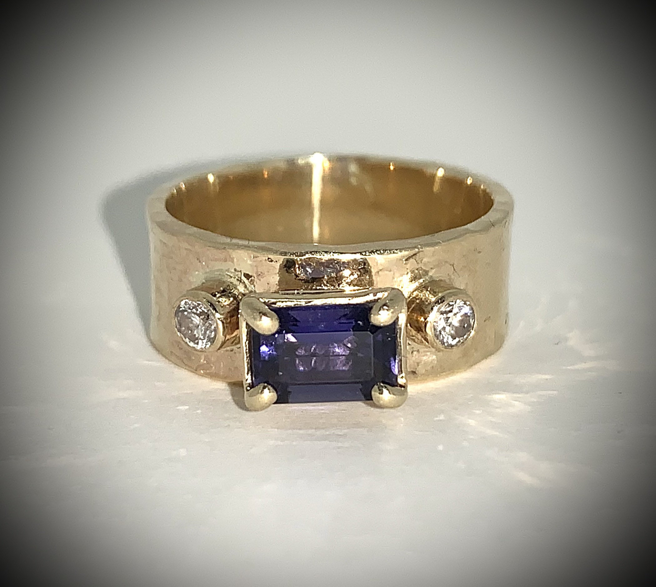 Iolite and diamond ring