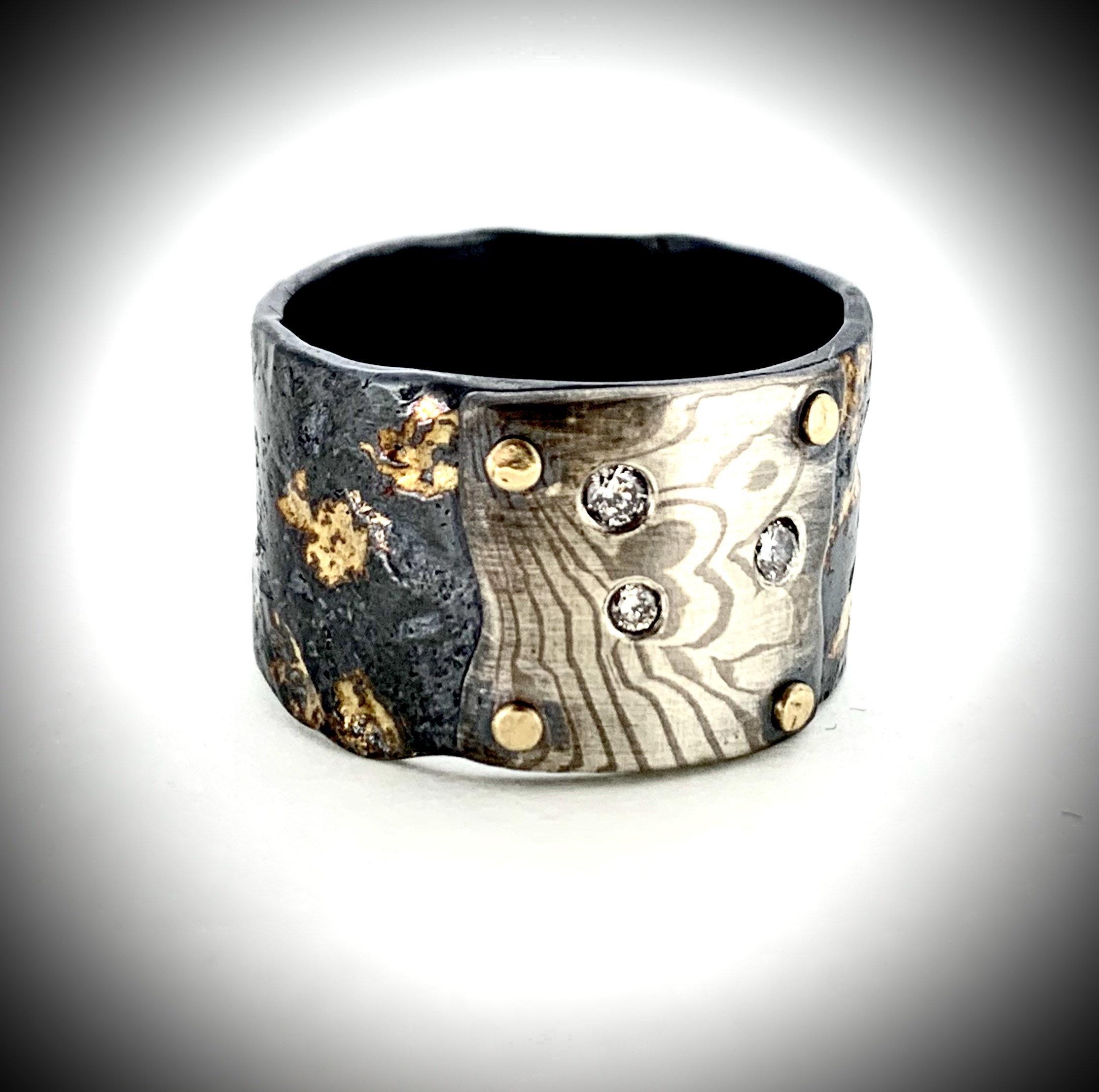 Mokume Gane Diamond Ring