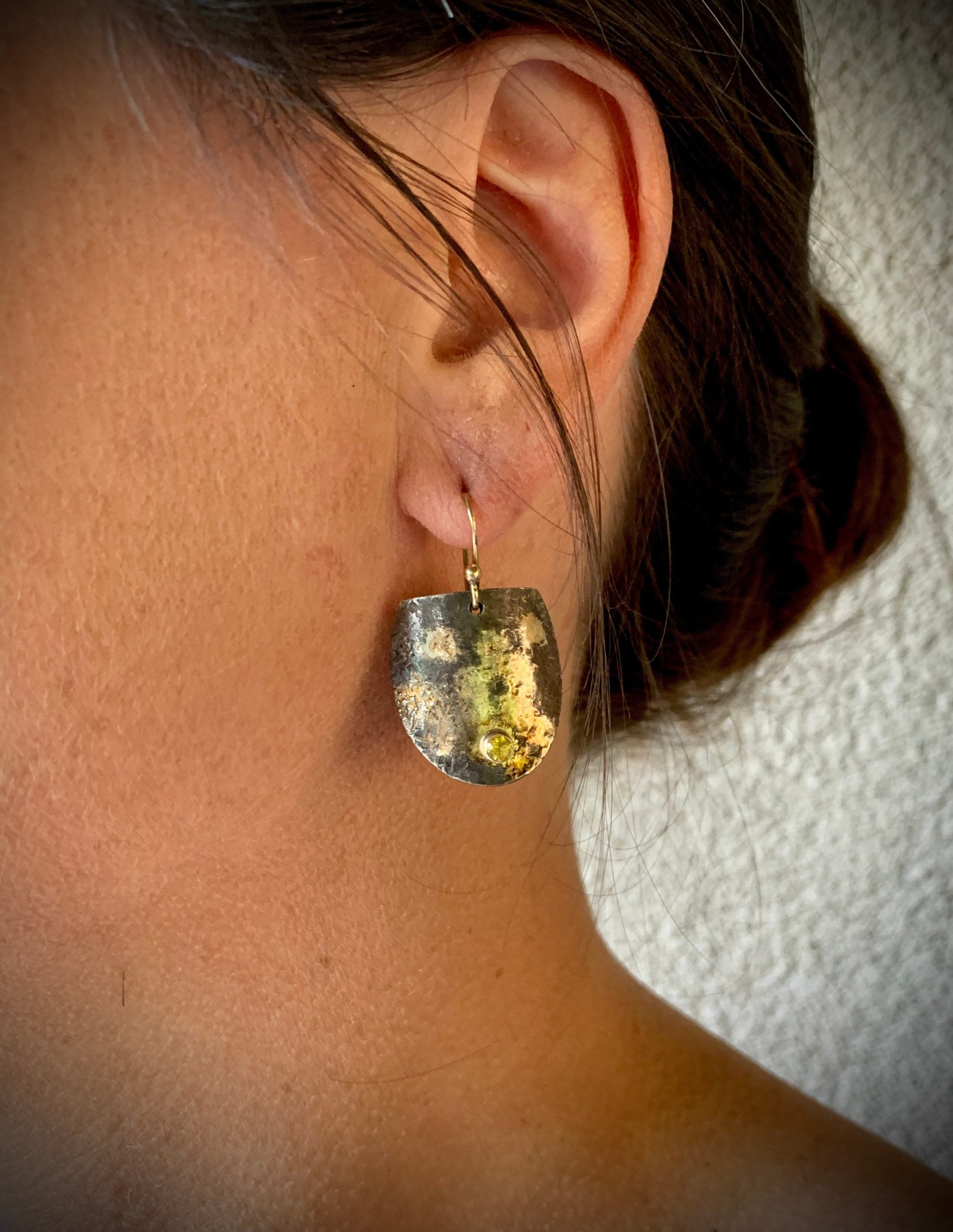 Shield Earrings with Yellow Sapphires
