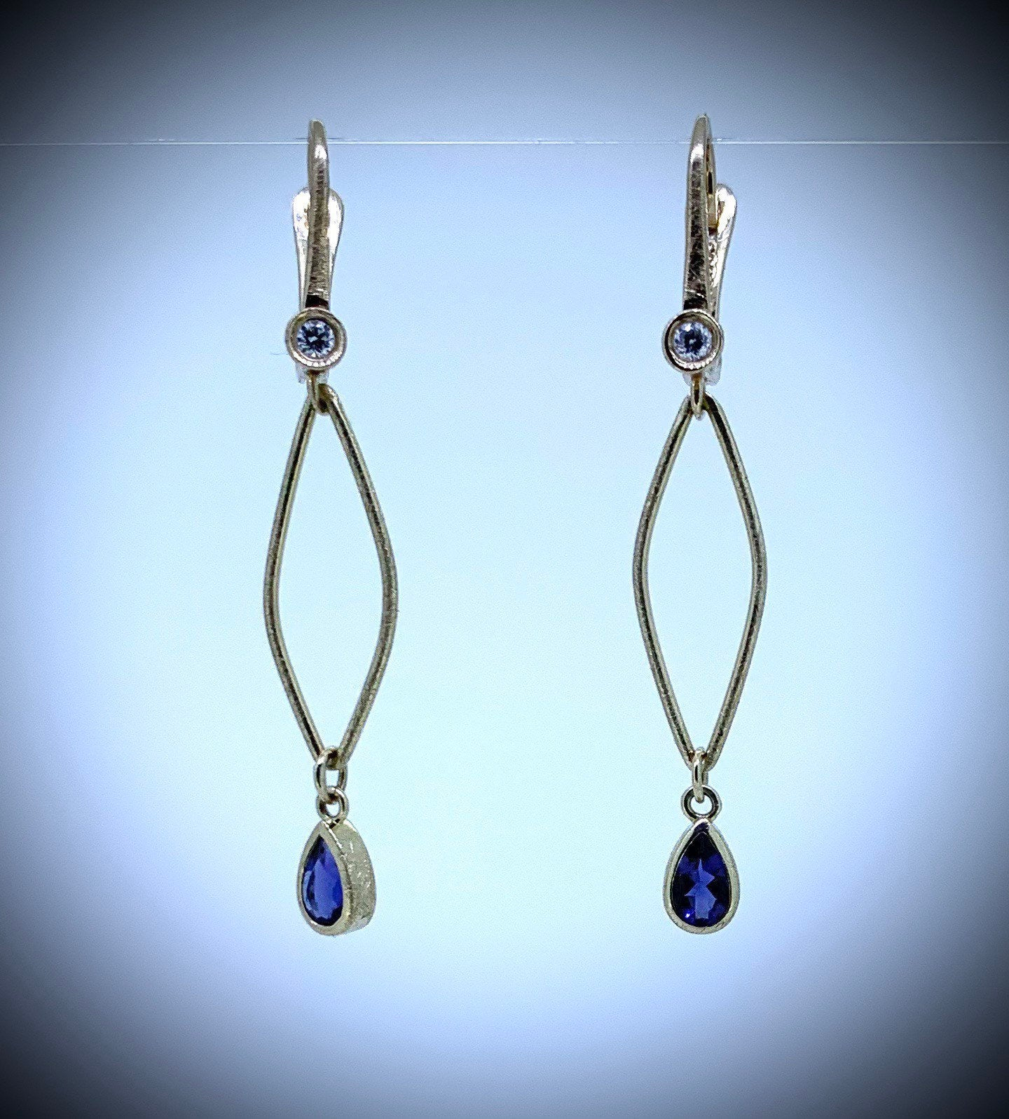 Iolite and Diamond Earrings