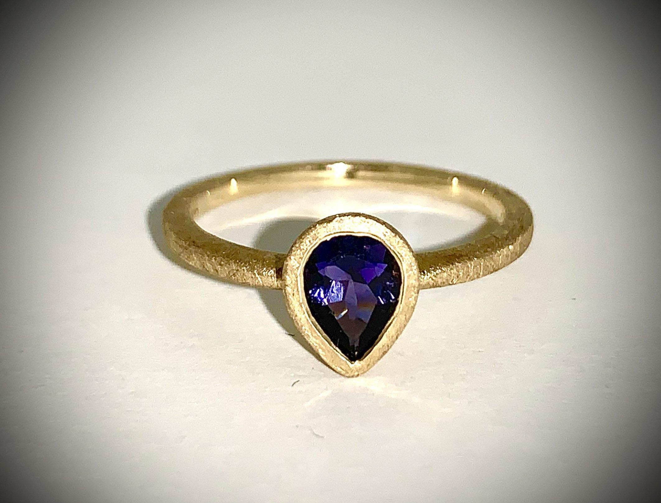 Iolite Pear Ring