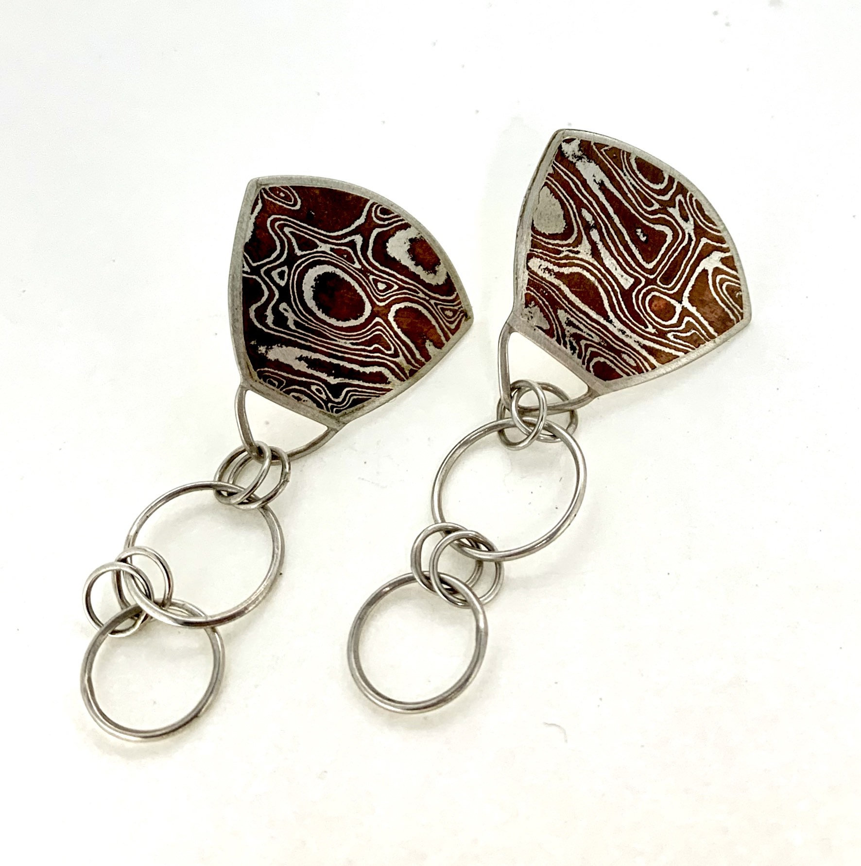 Mokume Gane Shield Earrings