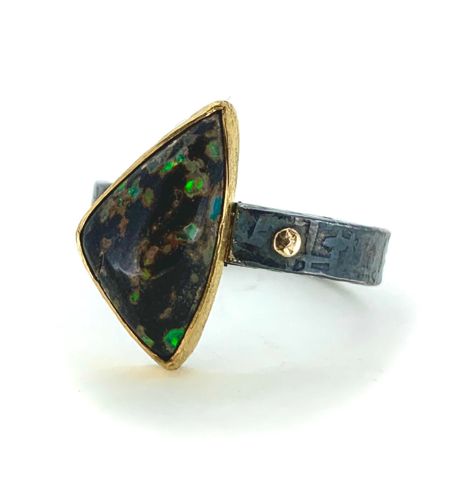 Leopard skin opal ring